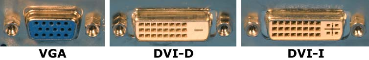 VGA, DVI-I, and DVI-D video card connectors
